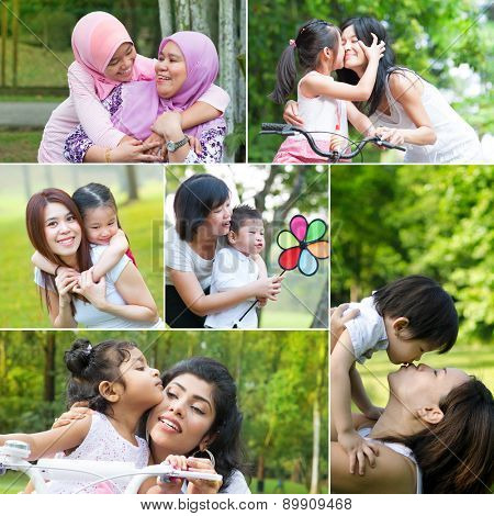 Collage photo mothers day concept. Family generations having fun at outdoor park.