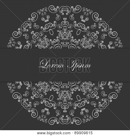 Black and white card design with ornate pattern