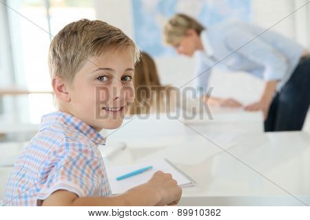 Young smiling schoolboy in classroom