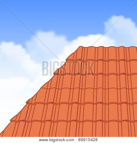 Red corrugated tile element of roof.