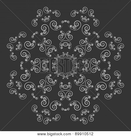 Black and white ornate flower pattern