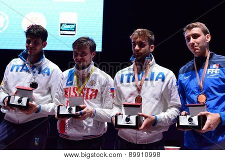 ST. PETERSBURG, RUSSIA - MAY 2, 2015: Winners of the International fencing tournament St. Petersburg Foil during the award ceremony. Left to right: A. Cassara, D. Rigin, D. Garozzo, V. Simon