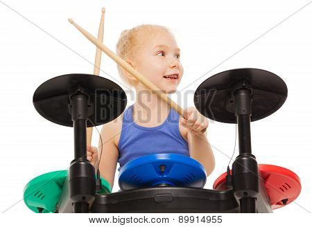 Close-up view of small girl playing on cymbals