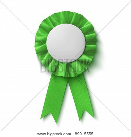 Blank, realistic green fabric award ribbon.