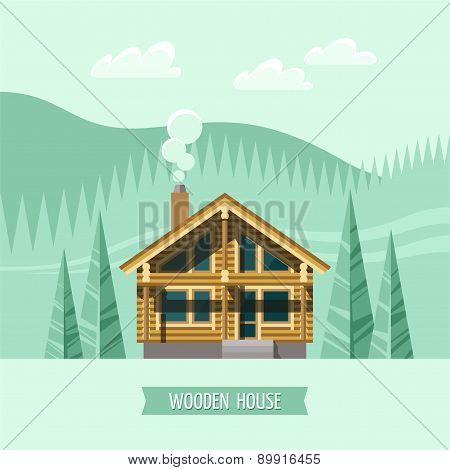 Chalet, wooden house, eco house, house on the nature.