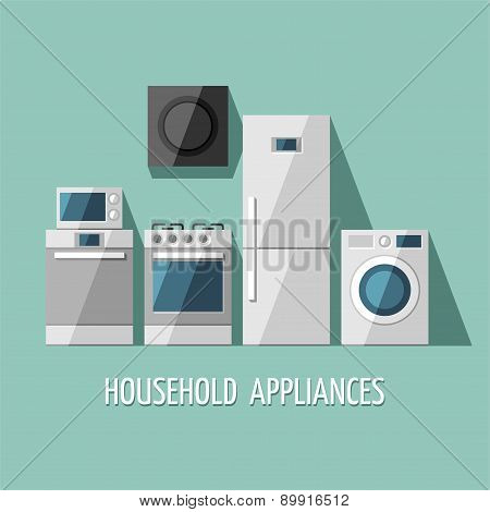 Set of household appliances. Home appliances. Kitchen equipment.
