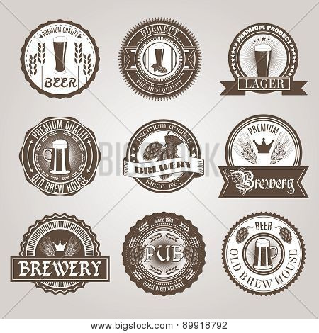Beer labels set black