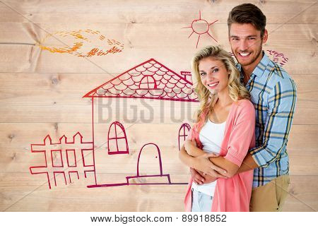 Attractive young couple smiling at camera against bleached wooden planks background