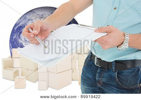 Delivery man with clipboard asking for signature against logistics concept