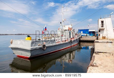 The Small Ship Is At The Quay Wall Of The River Port In Samara, Russia