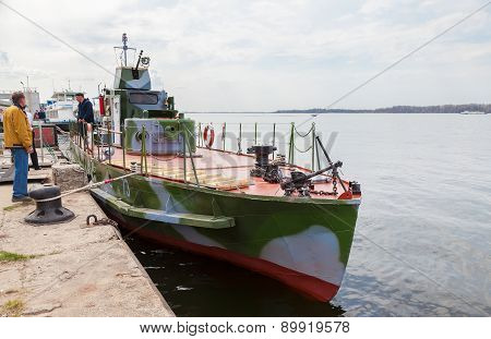 Refurbished Armored Boat Bka-73 Times Of The Great Patriotic War Stands At The Pier On The Volga Riv
