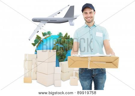 Handsome courier man with parcel against logistics concept