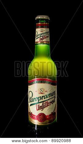 Bottle Of Unfiltered Staropramen Beer On Black