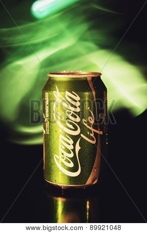 330ml Coca Cola Life Bottle Can On Black And Green