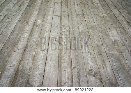 Old Grey Wooden Floor Perspective. Background Photo Texture