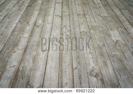 Old Grey Wooden Floor Perspective. Background Photo Texture