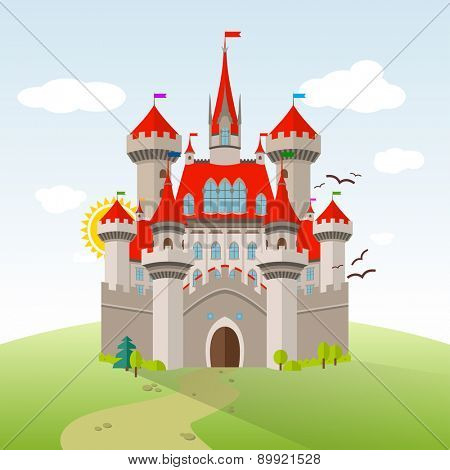 Fairy-tale Castle. Vector Imagination Child Illustration. Flat Landscape with Green Trees, Grass, Path, Stones and Clouds