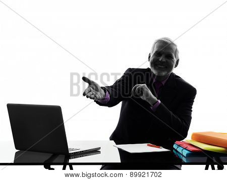 One Caucasian Senior Business Man welcoming Silhouette White Background