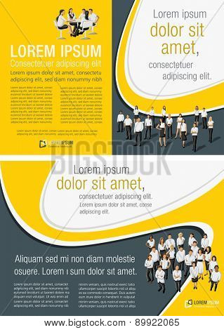 Yellow template for advertising brochure