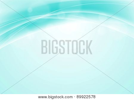 Turquoise blue abstract smooth wavy background. Vector backdrop