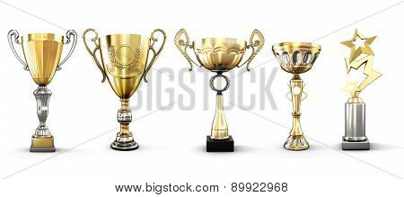 Set Of Golden Trophies Isolated On White Background