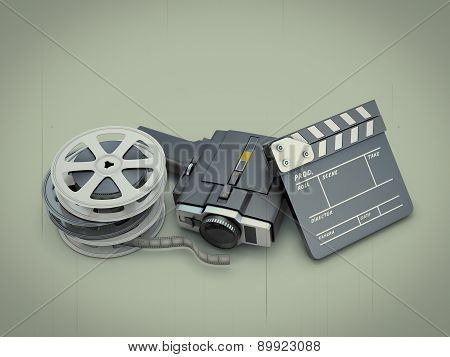 Ancient Movie Camera Near A Clapperboard And A Film