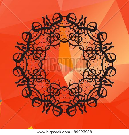 Geometric circle element made of vector of red color. Perfect  cards for any other kind of design, b