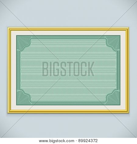 Horizontal wall certificate frame vector template with copy space.