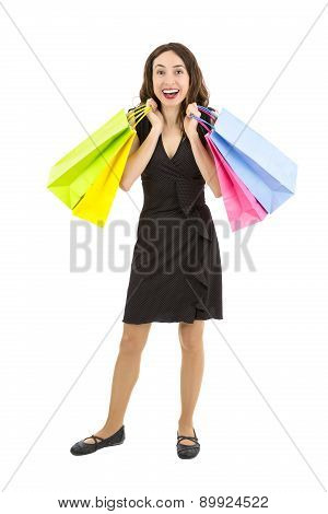 Shopaholic Woman Happy And Excitedly Carrying The Shopping Bags