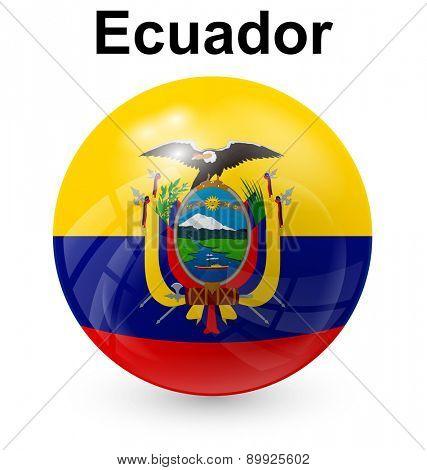 ecuador official flag, button ball