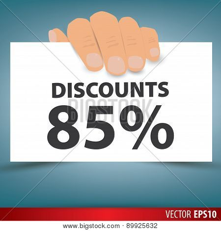 Hand Holding White Paper, A Discount Of 85 Percent. Vector.
