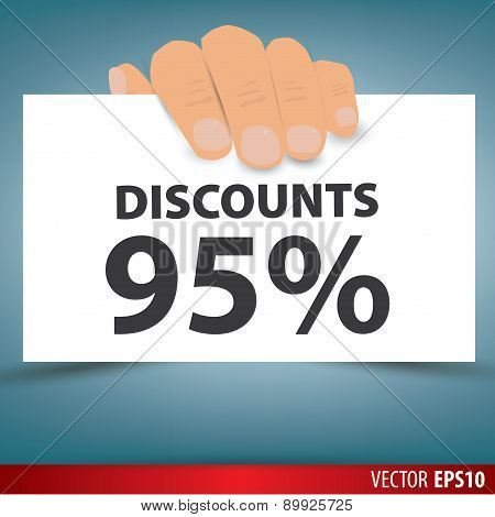 Hand Holding White Paper, A Discount Of 95 Percent. Vector.