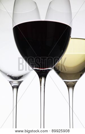 Wineglass With Red  And White Wine