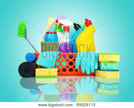 Variety Of Cleaning Supplies In A Basket