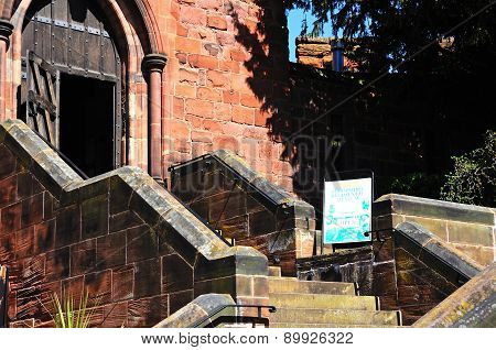 Steps leading to Shrewsbury Castle Door.