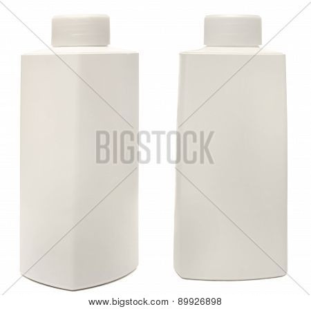 Closed Cosmetic Or Hygiene Plastic Bottle Of Gel, Liquid Soap, Lotion, Cream, Shampoo. Isolated On W