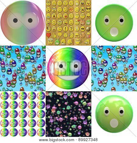 Set of Emoticon Plastic Face