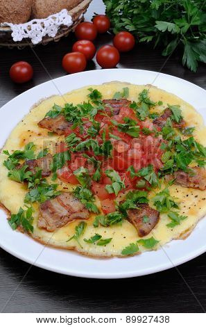Omelet  Bacon Slices, Tomatoes With Herbs