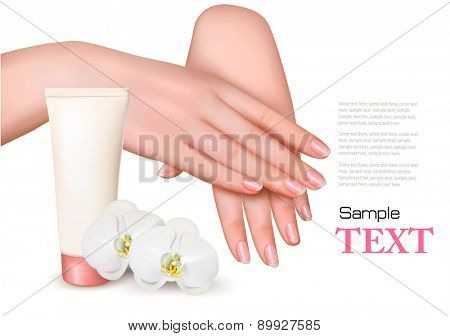 Beautiful young female hands with a cream and orchids. Vector.