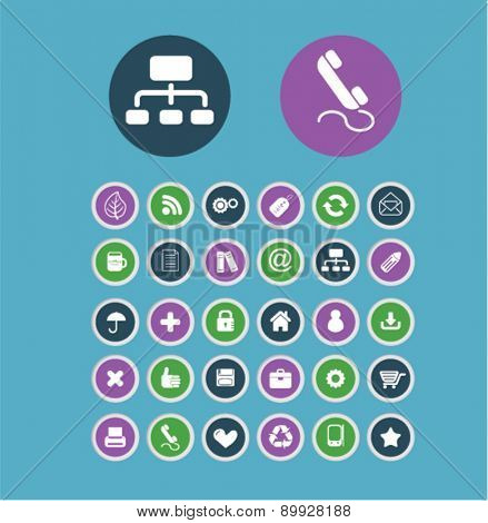 Round communication, business, application, and mobile buttons. icons set, vector