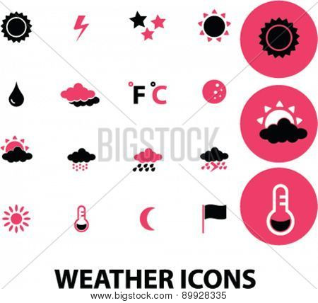 Weather, climate icons, signs. illustrations set, vector