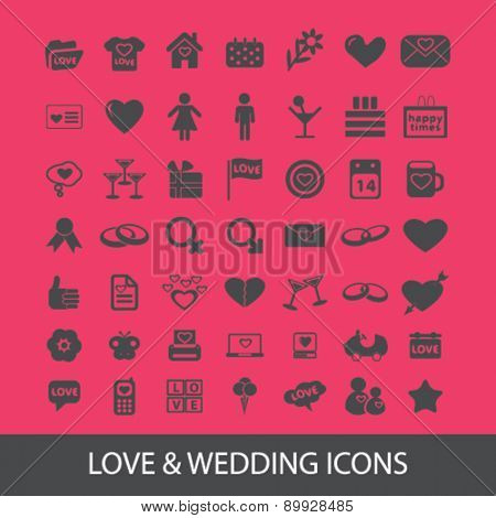 Love, wedding, romance icons, and signs. illustrations set, vector