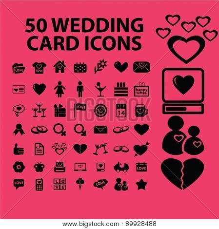 Wedding card, romance, relations, love icons, and signs. illustrations set, vector
