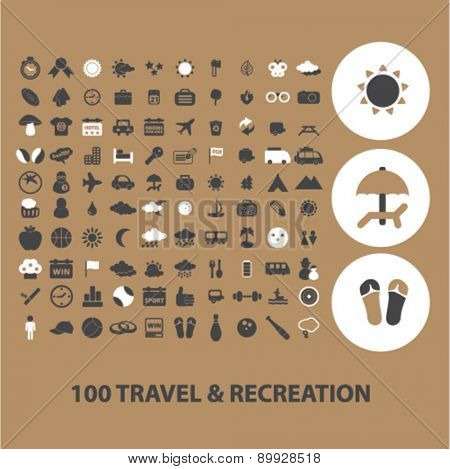 100 travel, recreation, vacation icons, signs. illustrations set, vector
