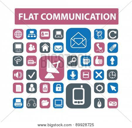 flat communication, connection, technology icons, signs. illustrations set, vector