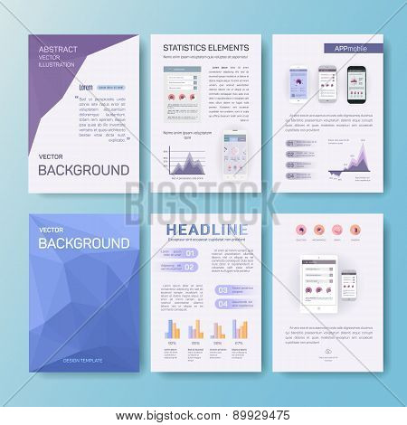 Abstract vector illustration, statistics elements, app mobile