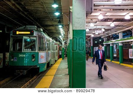 The T Subway Station In Downtown Boston