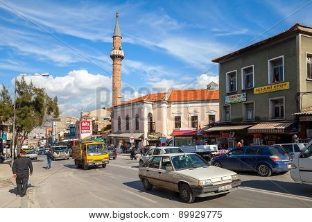 Izmir Street View With Mosque, Building Facades, Cars