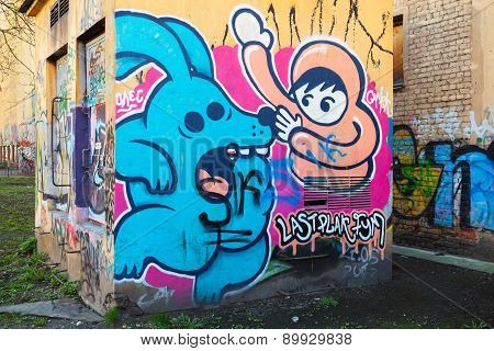 Colorful Abstract Graffiti, Modern Cartoon Style