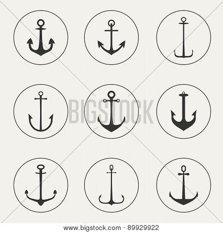 Flat design anchor, set of anchor symbols or logo template